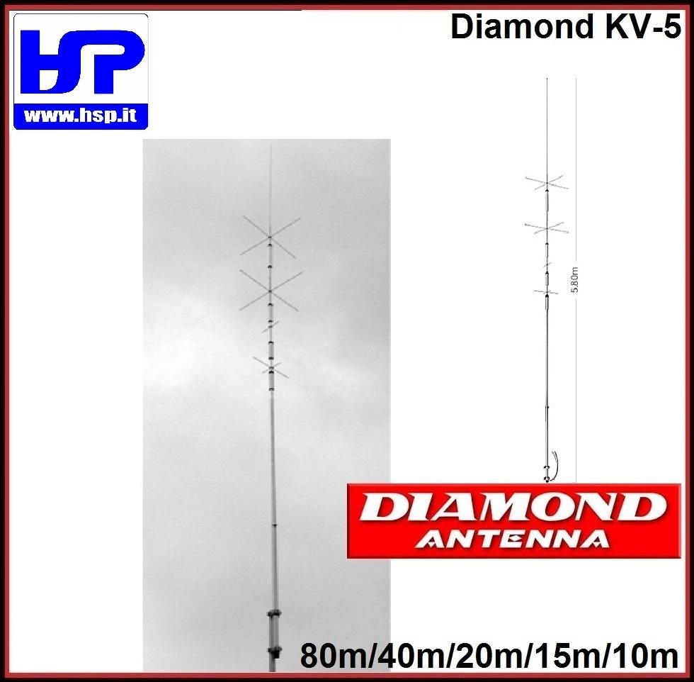 DIAMOND -KV5- VERTICAL ANTENNA 10-15-20-40-80 - HardSoft Products