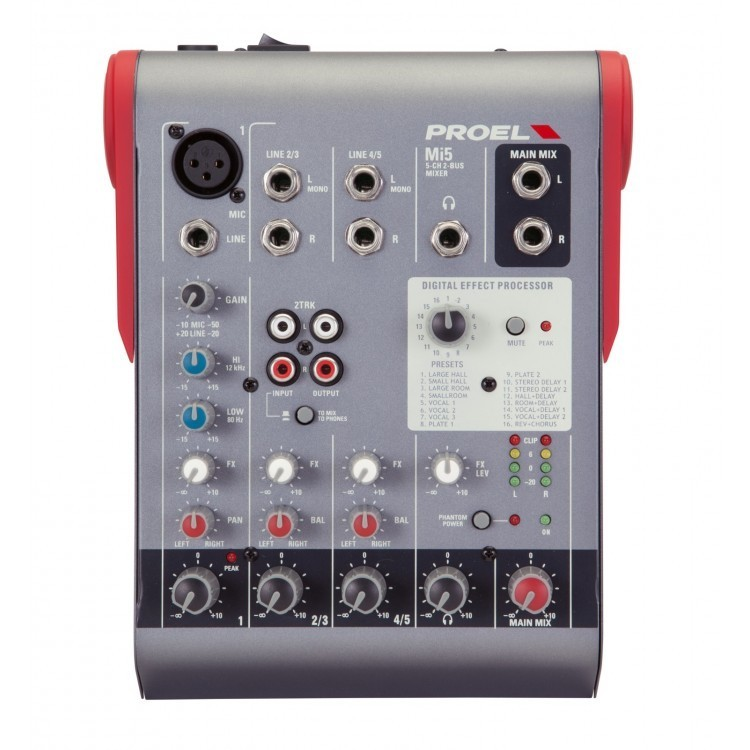 PROEL - MI5 - MIXER 5 INPUT WITH EFFECTS