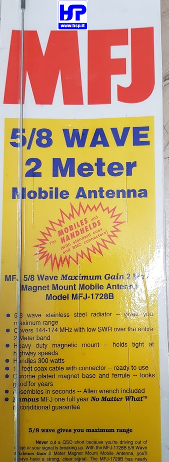 MFJ-1728B - VHF 2 + 6 METERS MOBILE ANTENNA - HardSoft Products