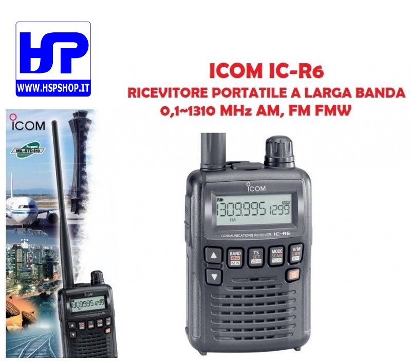 ICOM - IC-R6 -RICEVITORE SCANNER 0,1-1300 MHz