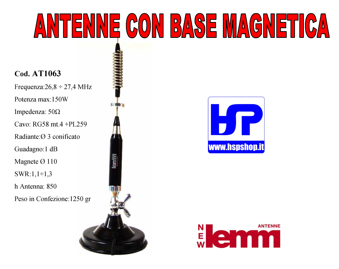 LEMM - AT1063 - ANTENNA CB CON BASE MAGNETICA