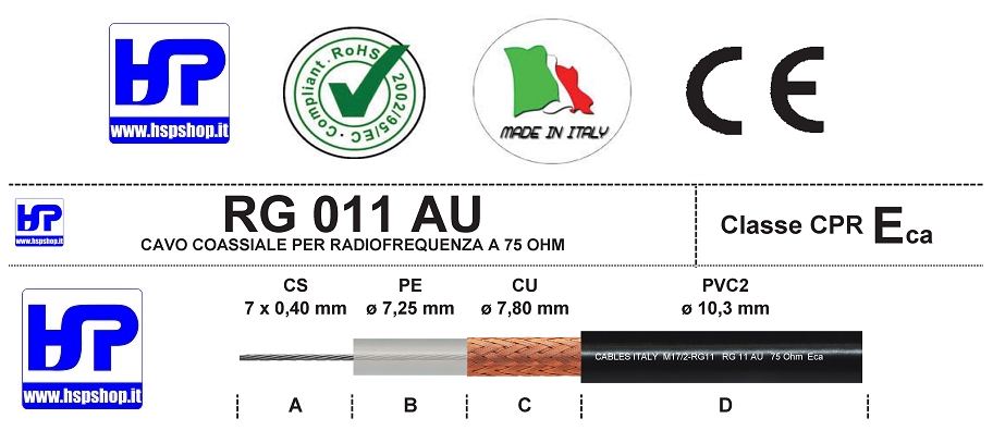 RG-11 AU - COAXIAL CABLE FOR R.F. - 75 OHM