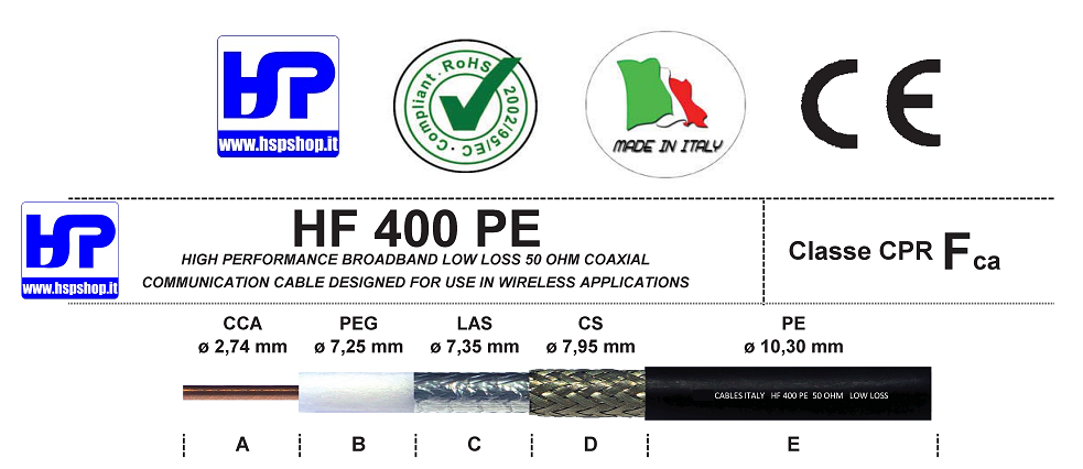 HF-400 PE - LOW LOSS - 50 OHM COAXIAL CABLE