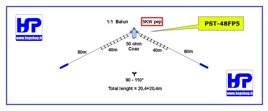 PST-48FP5 - PARALLEL DIPOLE 40-80 M - 5 kW
